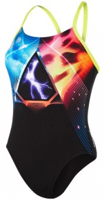 Speedo Electric Eclipse Placement Digital Rippleback Black/Lime/Orange