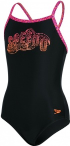 Speedo Candy Bounce Placement Thinstrap Muscleback Girl Black/Post It Pink/Fluo Orange/Violet