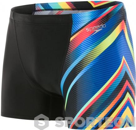 Speedo MirrorFlash Allover Digital V Panel Aquashort Black/Psycho Red/Brilliant Blue