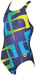 Arena G Scrawl Junior One Piece Navy/Yellow Star