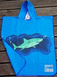 BornToSwim Shark Poncho Junior Blue